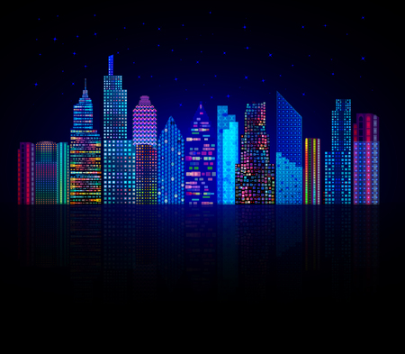 night lights: Modern city skyline silhoutte at dark night