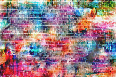 wall: Colorful wall painting art, inspirational background image. Stock Photo