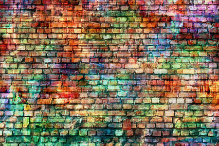 brick texture: Colorful wall painting art, inspirational background image. Stock Photo