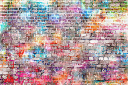 painting on the wall: Colorful wall painting art, inspirational background image. Stock Photo