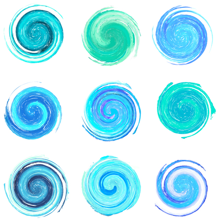 wellness environment: Set of blue water concept design elements, clip art Stock Photo