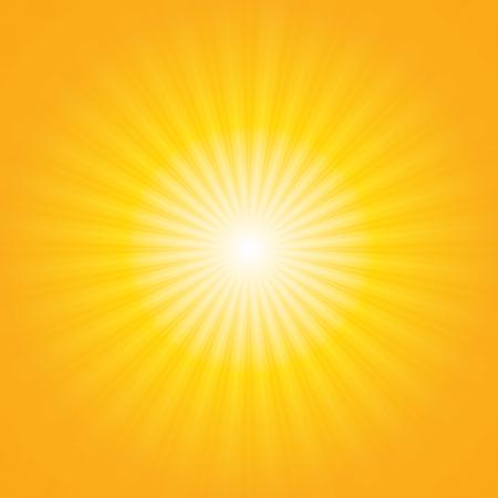Shiny sun beams, summer background. yellow & orange sunburst background Stock Photo