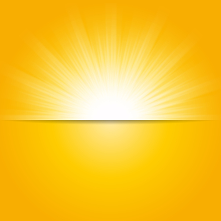 orange sunset: Shiny sun vector, sunbeams, sunrays background, banner design