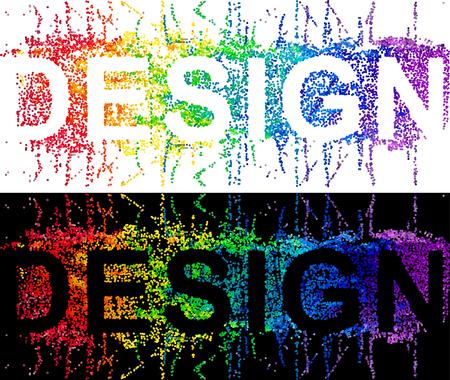 DESIGN, typographic illustration with color splash concept dotted design.