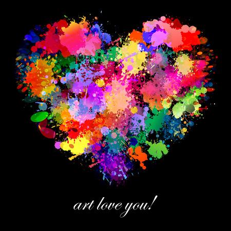 다채로운 페인트 얼룩 아트, 심장 모양 그림 일러스트