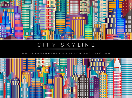 urban scene: Colorful city panorama, cityscape background.