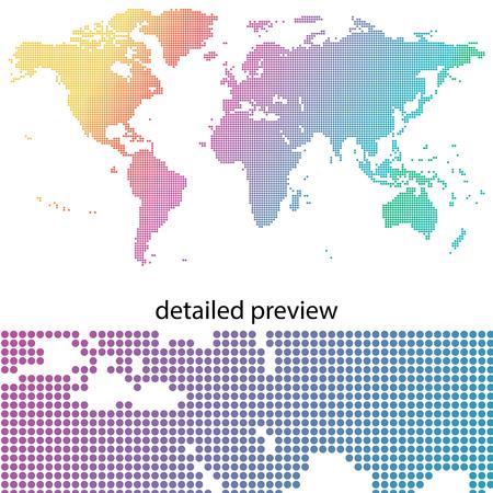 Kleurrijk en gestippelde kaart van de wereld