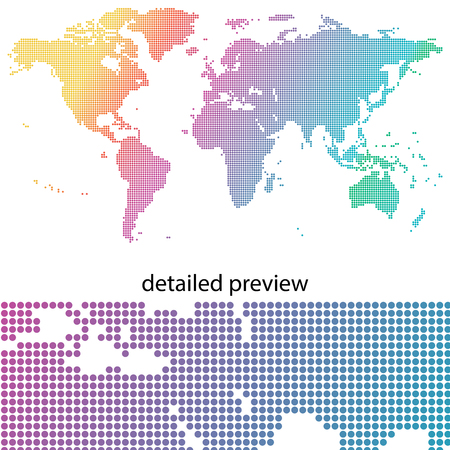 Colorful & dotted world map Vectores