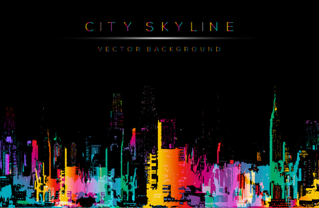 and scape: Grunge style  art, colorful city night skyline illustration.