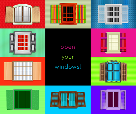 front view: Colorful windows colage, abstract composition, background