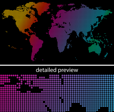 digital world: Colorful dotted world map on black background Illustration