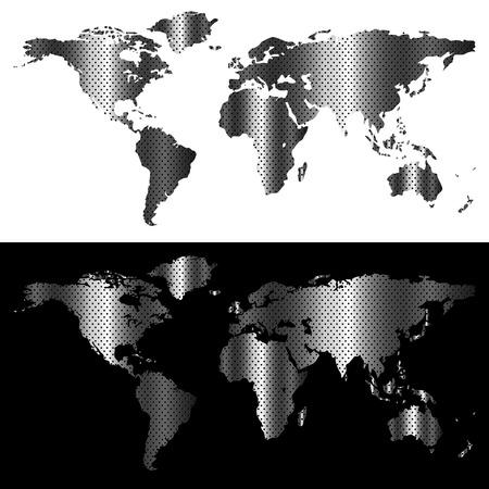 Metallic world map, industrial concept abstract design Stock Illustratie