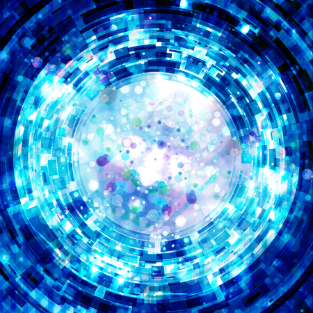 electric blue: Technology concept, shiny lights explosion, abstract futuristic background Stock Photo