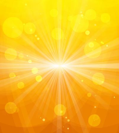 온천과 빛나는 태양 빛, 추상 여름 배경