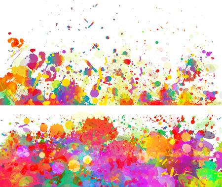 スプラッシュの抽象的な色の背景とバナーを設定 写真素材