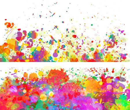 Abstract color splash background and banner set