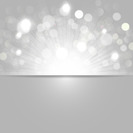 Shiny lights and sunrays, black and white background, banner.