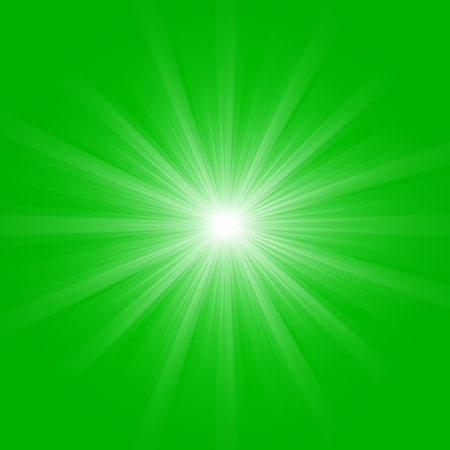 Abstract green sunrays, environmental concept spring background.