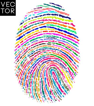 huella digital colorido, ilustración de la huella digital. Ilustración de vector