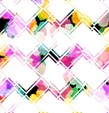 forme: Fleurs colorées aux formes géométriques, fond abstrait. Banque d'images