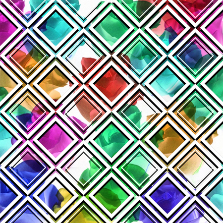 argyle: Colorful flowers with geometric shapes, abstract background. Stock Photo