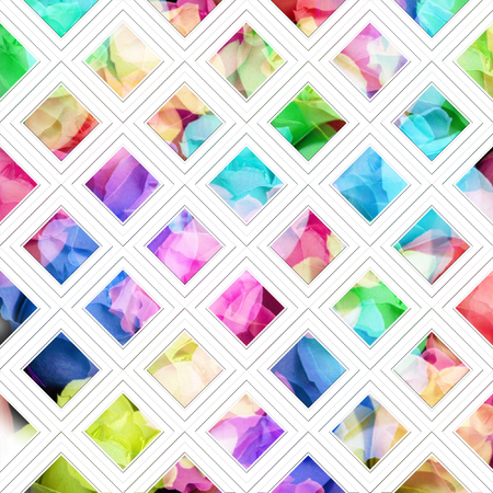 geometric shapes: Colorful flowers with geometric shapes, abstract background. Stock Photo