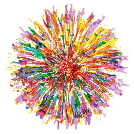 Kleur splash vector bloem illustratie. Kleurrijke bloem.