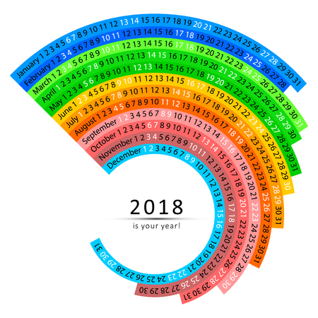 Simple monthly and daily 2018 calendar. Vector colorful swirl shape.