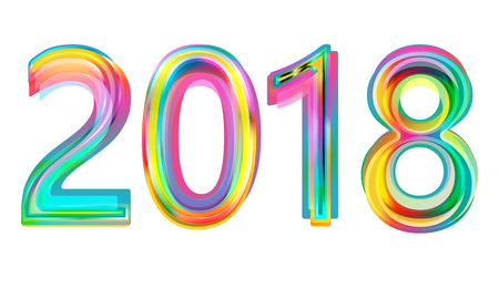 Happy new year 2018 calendar cover, typographic vector illustration.