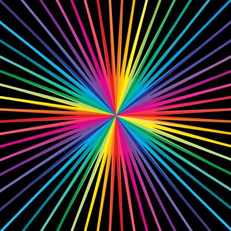 Lignes à rayures colorées fond starburst & sunburst, dessin vectoriel.