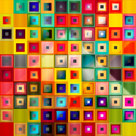 Shiny and glossy colorful 3d square shapes mosaic background. Vector illustration.