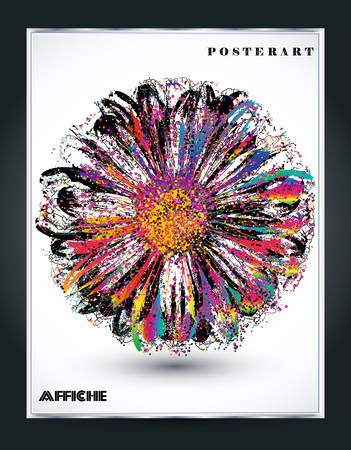 Abstract color splash and isolated flower illustration. Illustration