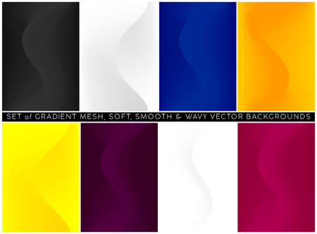 Soft and smooth wavy lines minimalist concept gradient mesh backgrounds set.