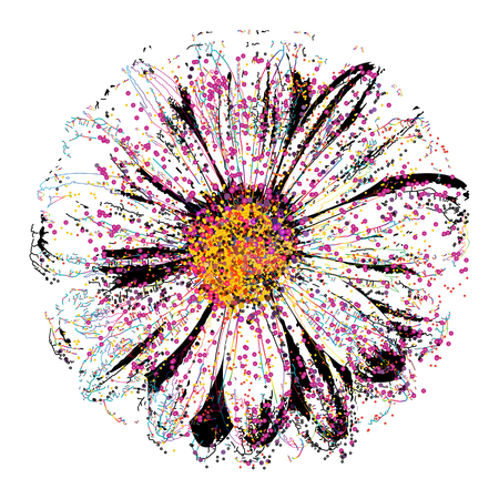 Abstract color splash and isolated flower illustration. 일러스트