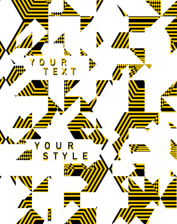 Abstract geometric shapes poster background with yellow and black color concept.