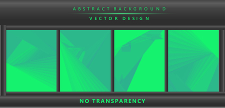 Green & turquoise color toned, 3d lines minimal concept abstract backgrounds set. Vertical A4 page size brochure & flyer template set. Vector Illustration