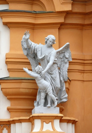 Melk, Austria - May 16, 2011: Guardian angel in Melk Abbey.