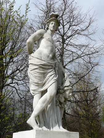 Vienna, Austria - March 31, 2012: Statue of mythological hero Perseus in Schonbrunn garden.