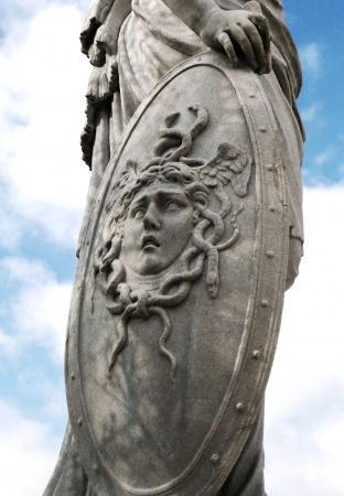 Vienna, Austria - March 31, 2012: Shield with head of Medusa from statue of Aspasia in Schonbrunn garden.