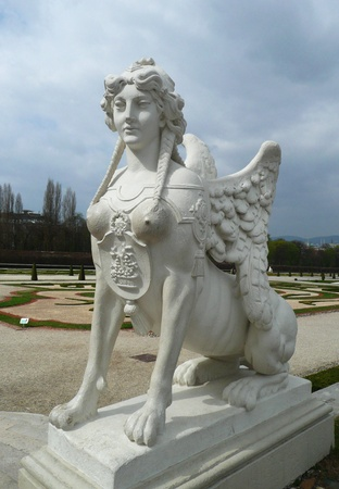 Vienna, Austria - March 31, 2012: Statue of sphinx in Belvedere garden.