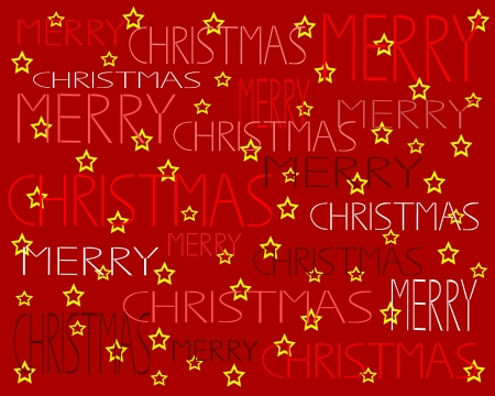 Red Christmas background with stars Vector