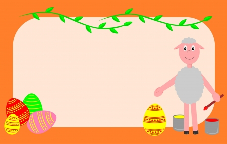 Easter card with Easter eggs and sheep Vector