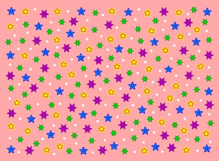 Pink background with colorful stars Vector