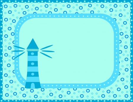 Blue card with lighthouse Vector