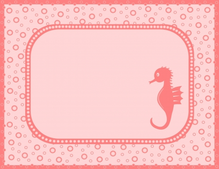 Pink card with sea horse Vector
