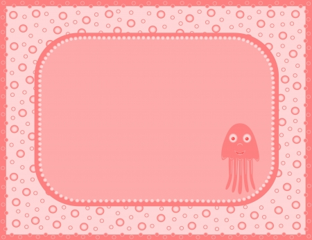 Pink card with jellyfish Vector