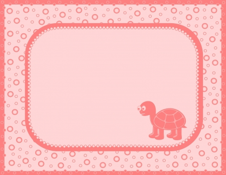 Pink with turtle Vector
