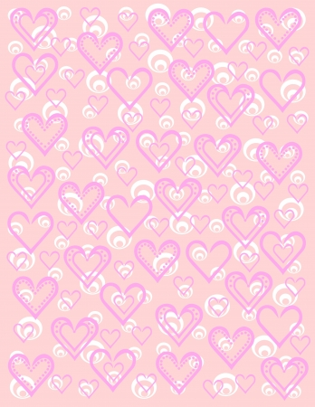 Pink and white with hearts and circles Vector