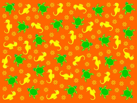 Vivid with turtles and sea horses Vector