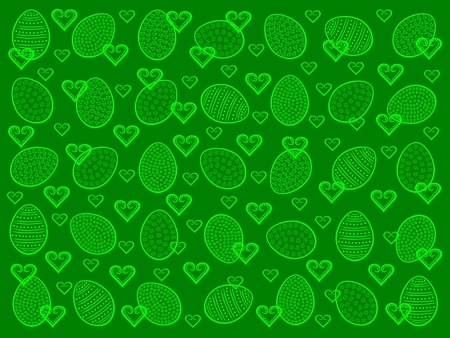 Easter background with Easter eggs and hearts Vector